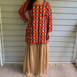 Mirrored Indian/Pakistani Suit with Flared Pants
